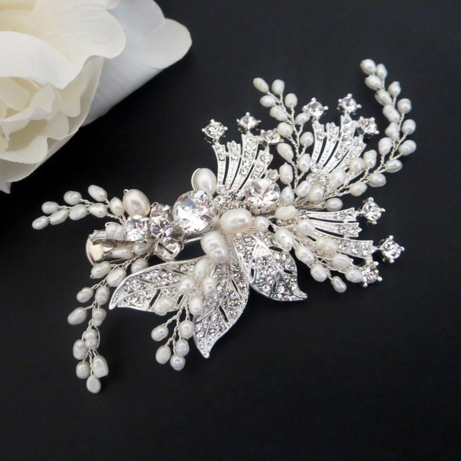 Hochzeit - Bridal hair clip, Bridal hair vine, Bridal hair comb, Freshwater pearl hair clip, Freshwater pearl hair vine, Wedding hair accessory