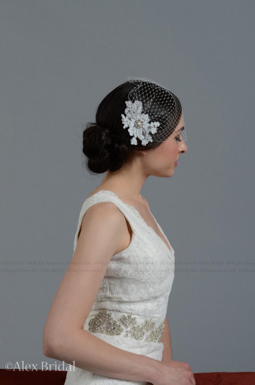 Mariage - Wedding Veil - Ivory blusher birdcage veil with alencon lace