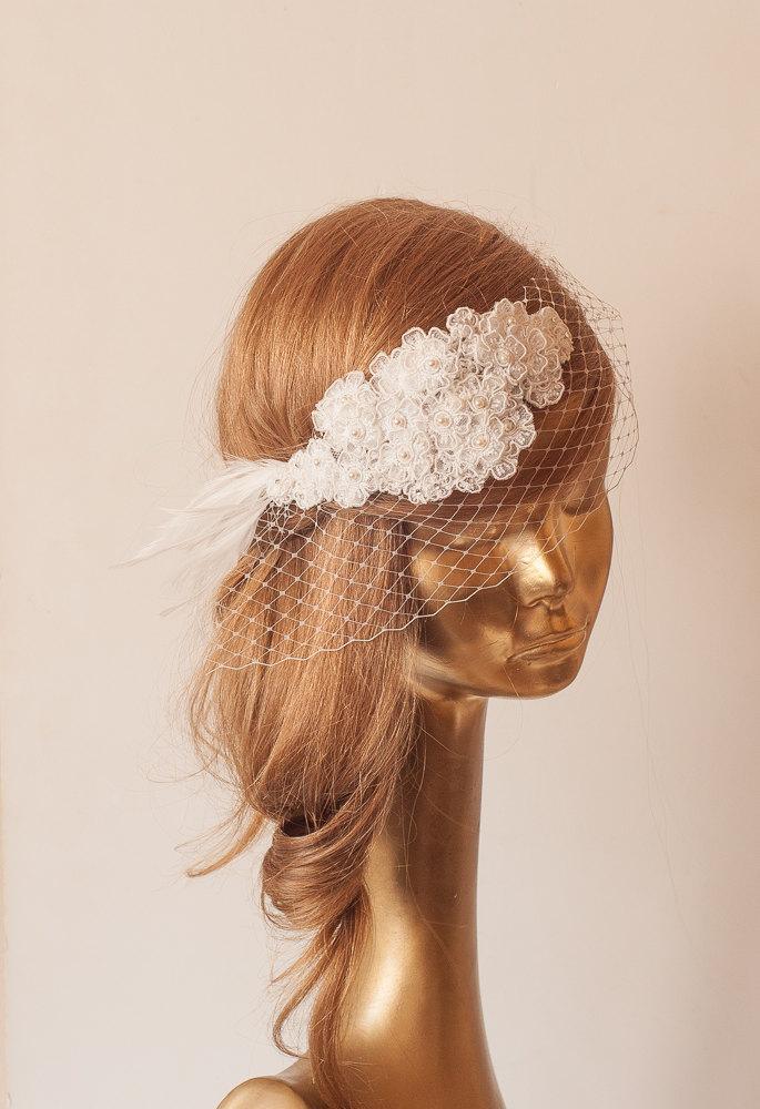 Wedding - Ivory Lace BIRDCAGE VEIL, Vintage Style Birdcage Veil. Bridal FASCINATOR.