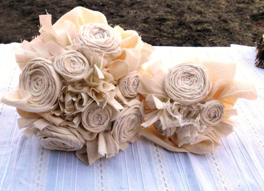 Wedding Bouquet, Rustic, Bridal, Vintage, Cotton, Fabric Flower ...