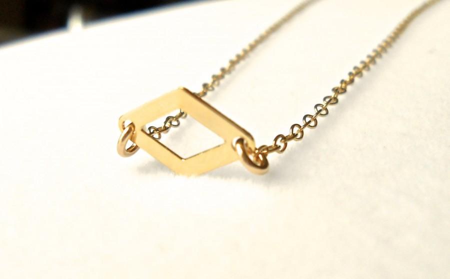 Mariage - Diamond Pendant Necklace Gold Geometric Necklace, Modern Small Link Connector, ADPi Alpha Delta Pi, Big Little Sister Friend Mom Bridesmaid