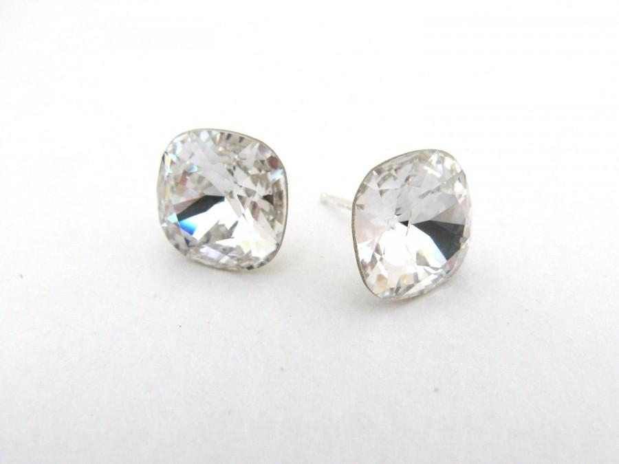 Cushion Cut Square Swarovski Stud Earrings Sterling Silver And Crystal Diamond Studs