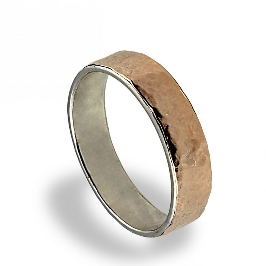 14K Rose Gold Wedding Band Hammered Texture Wedding Ring For Men Gold Silver Wedding Band