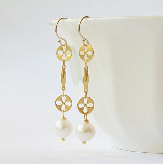 Mariage - Pearl Floral Drop Earrings