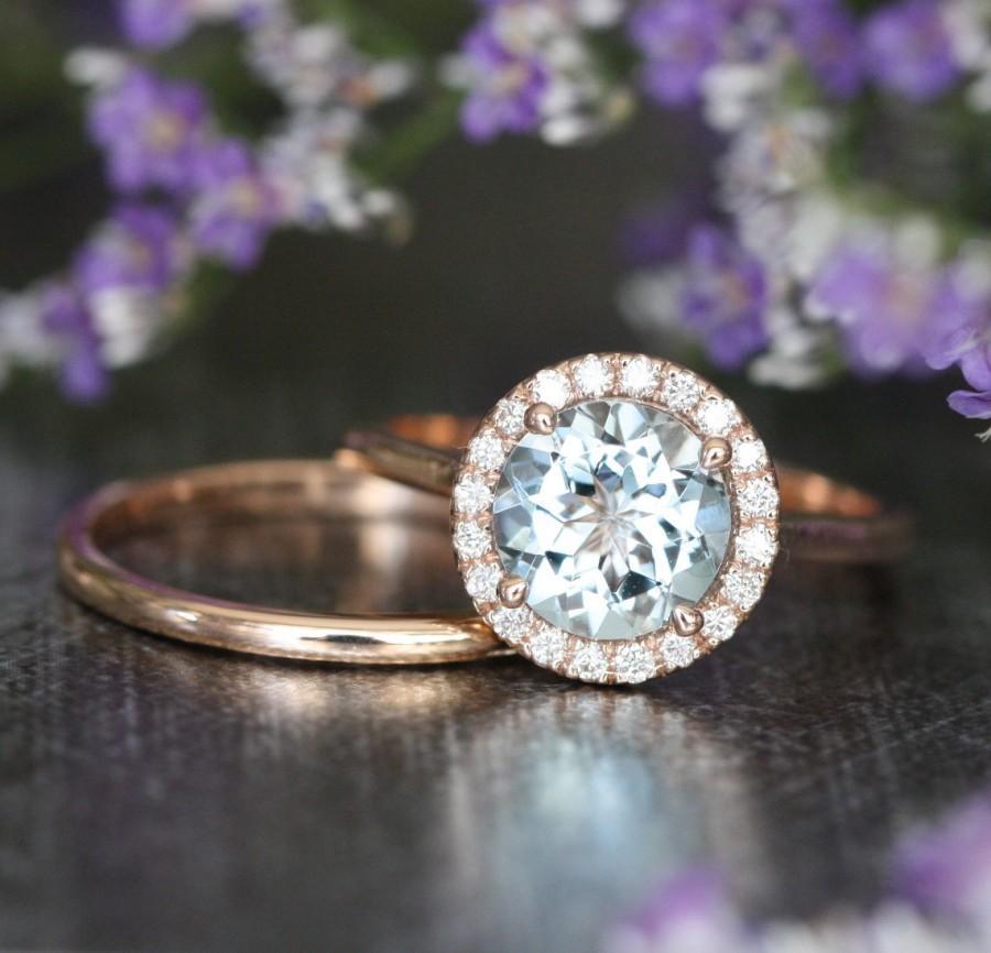 Mariage - Natural Aquamarine Halo Diamond Engagement Wedding Ring Set in 14k Rose Gold 8x8mm Aquamarine Ring and Dainty Rose Gold Wedding Band