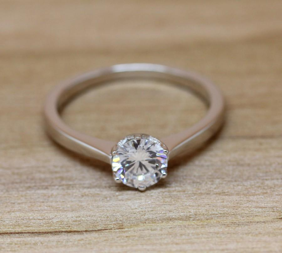 1ct lab solitaire ring available in white gold or