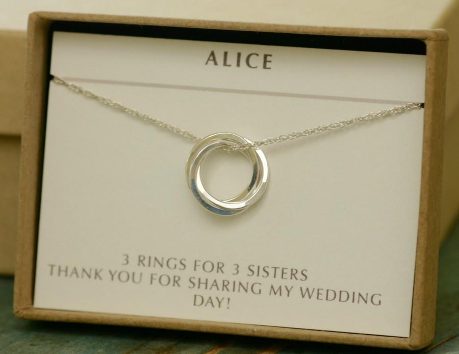 Silver Bridesmaid Necklace 30th Birthday Gift Interlocking Circles Sister Three Rings