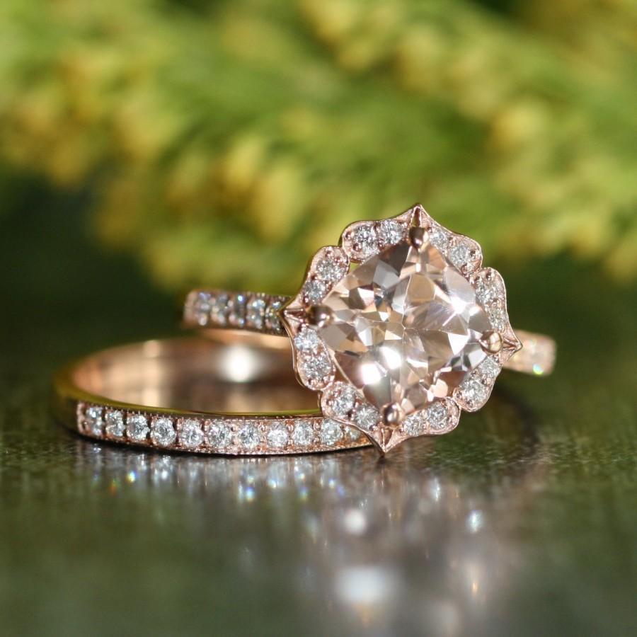 Mariage - Vintage Floral Morganite Engagement Ring Diamond Wedding Band Bridal Set in 14k Rose Gold 8x8mm Cushion Morganite Ring Half Eternity Band