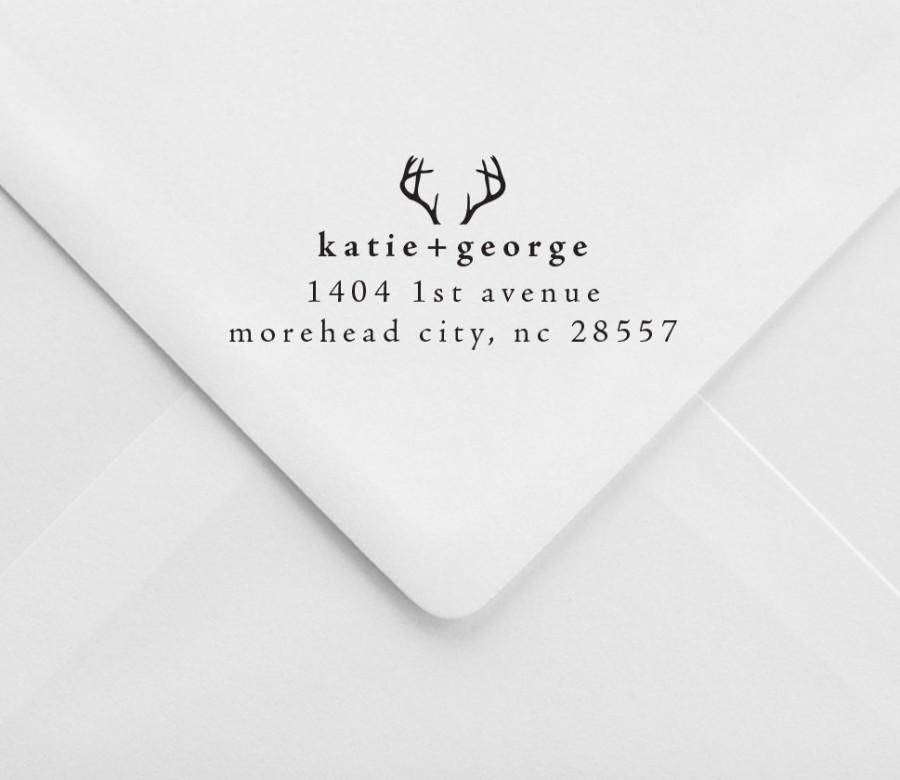 personalized return address stamp antlers rustic wedding stamp