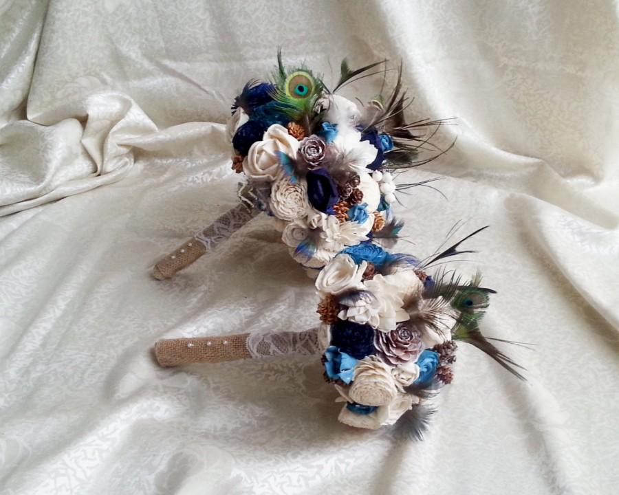 Mariage - Bridesmaid toss cream brown dark blue turquoise rustic wedding real PEACOCK feathers BOUQUET Burlap Handle cotton lace pine cones cedar rose