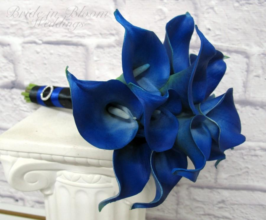 Mariage - Calla lily Wedding bouquet Royal blue real touch bridesmaid bouquet