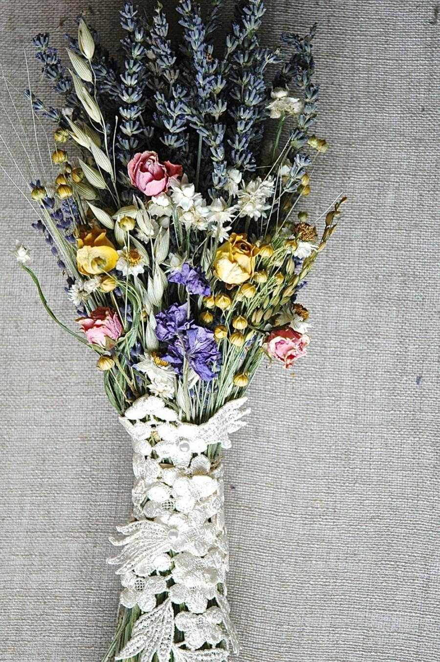 Pastels And Lace Spring Meadow Brides Bouquet In Pastel Blue Yellow