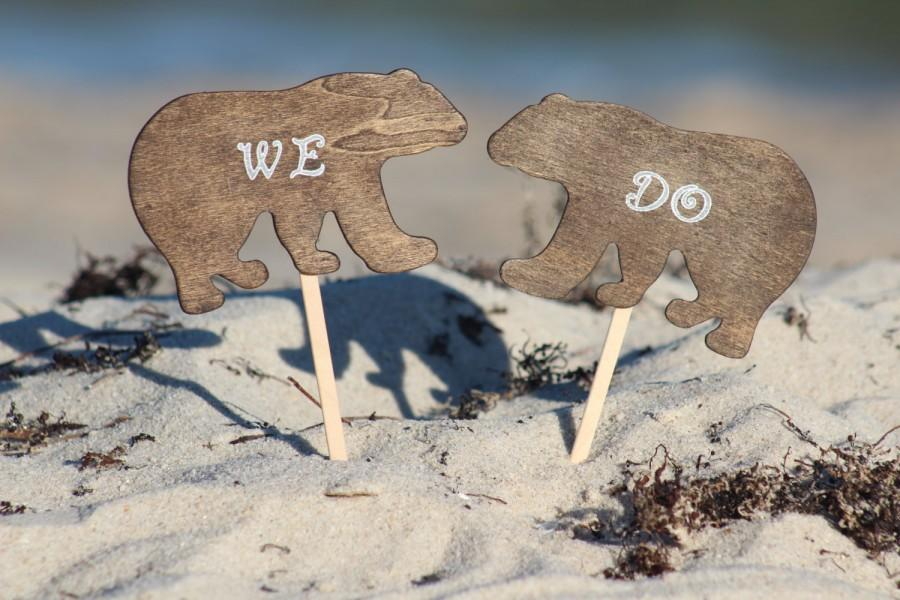 Mariage - Bear Cake Topper We Do - Mr & Mrs Bear-  Bride and Groom - Rustic Country Chic Wedding