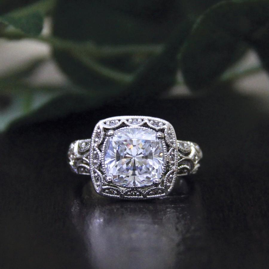 3.30 Carat Center Art Deco Engagement Ring-Cushion Cut Diamond Simulant- Vintage Ring-Promise Ring-925 Sterling Silver-R43750 41a5a962dc8f