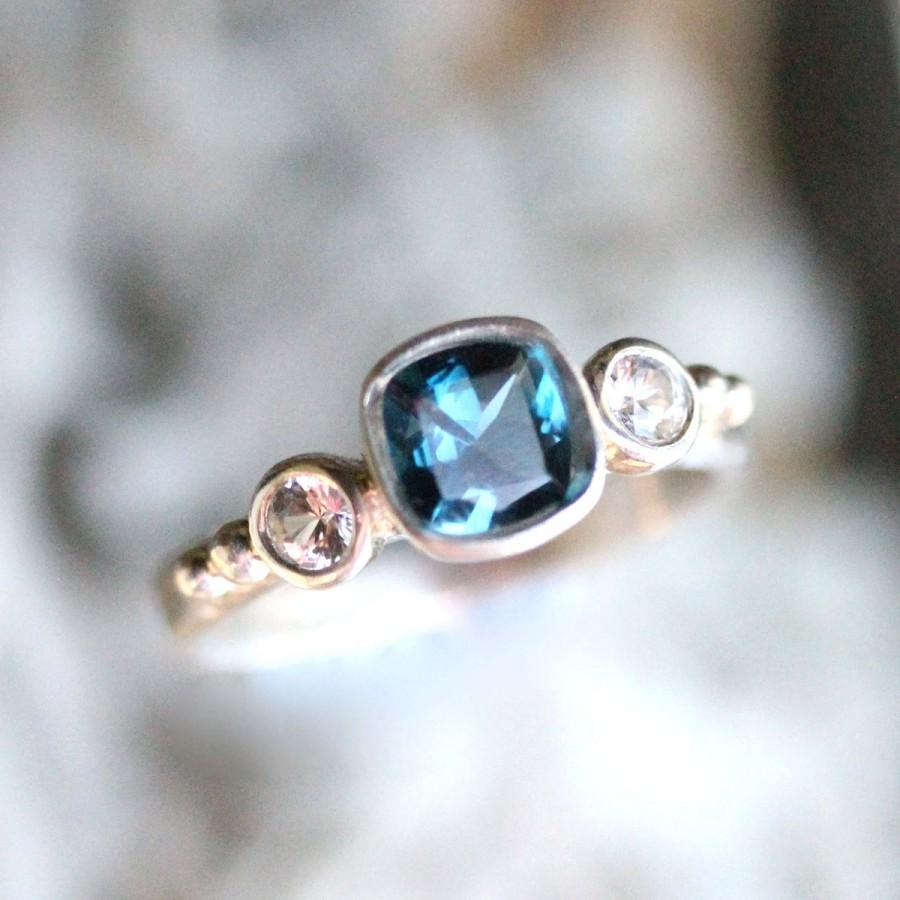 28c382c12b2125 London Blue Topaz And White Sapphire Sterling Silver Ring, Gemstone Ring,  Three Stones Ring, Engagement Ring, Stacking Ring -Made To Order
