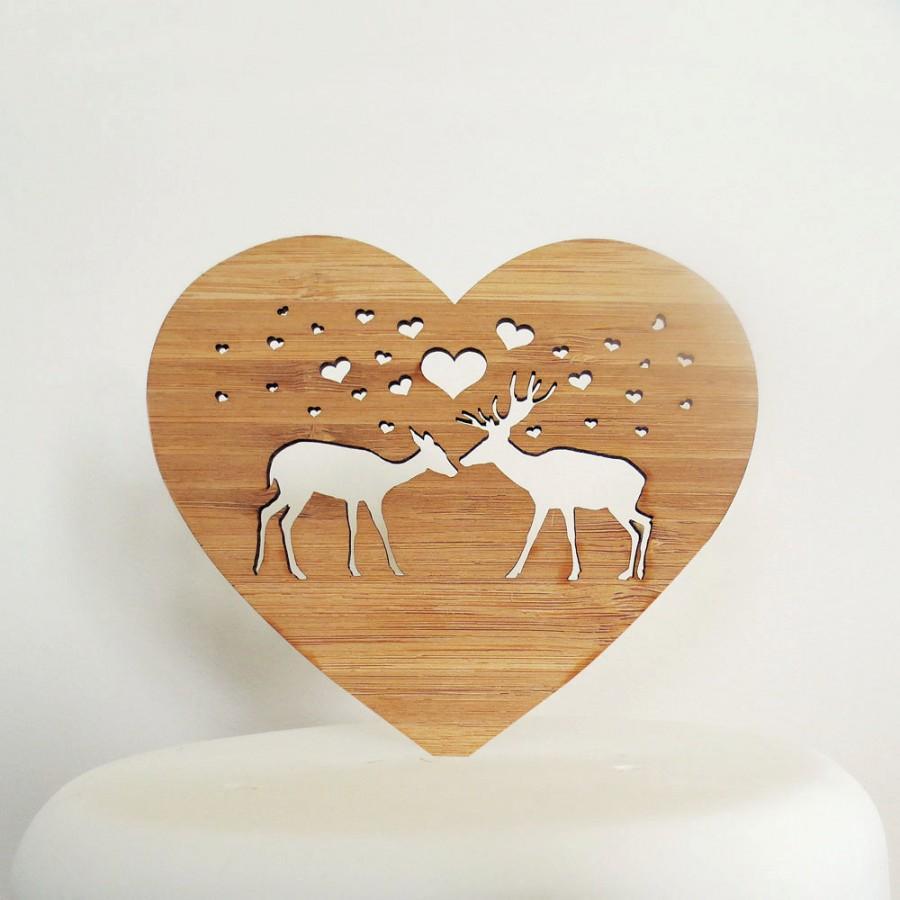 Hochzeit - Deer-ly Beloved Woodland Cake Topper - Bamboo - Wedding Cake Topper - Rustic Wedding - Modern Wedding