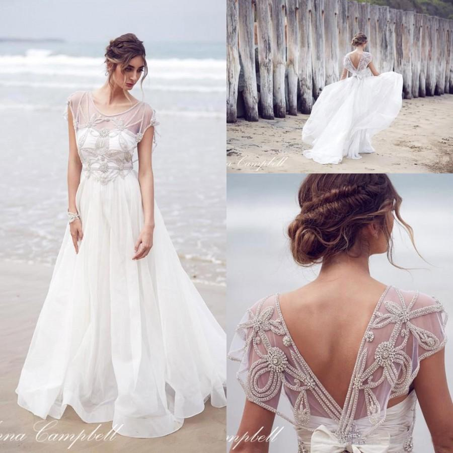 1bb63c0025a8f0 2016 Anna Campbell New Sheer Cap Sleeves Organza A Line Wedding Dresses  Beaded Crystals Top Floor Length Summer Beach Bridal Gowns Online with  $155.76/Piece ...