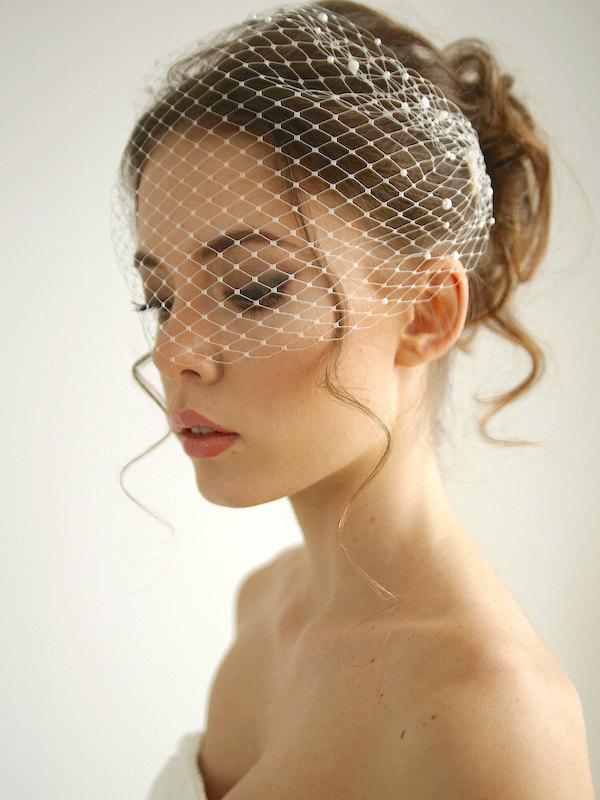 Hochzeit - Pearl bandeau birdcage wedding veil, pearl wedding veil, russian netting birdcage, headband veil, Emma - Style V02