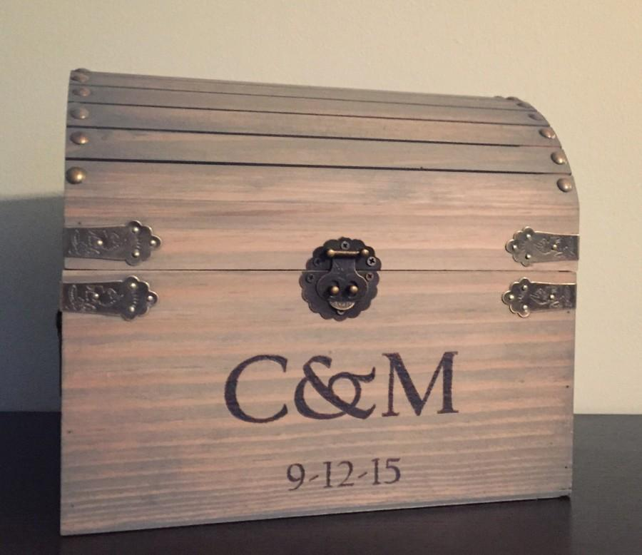 Custom Treasure Chest Wedding Card Box Rustic Wedding Box Thank – Wedding Treasure Chest Card Box