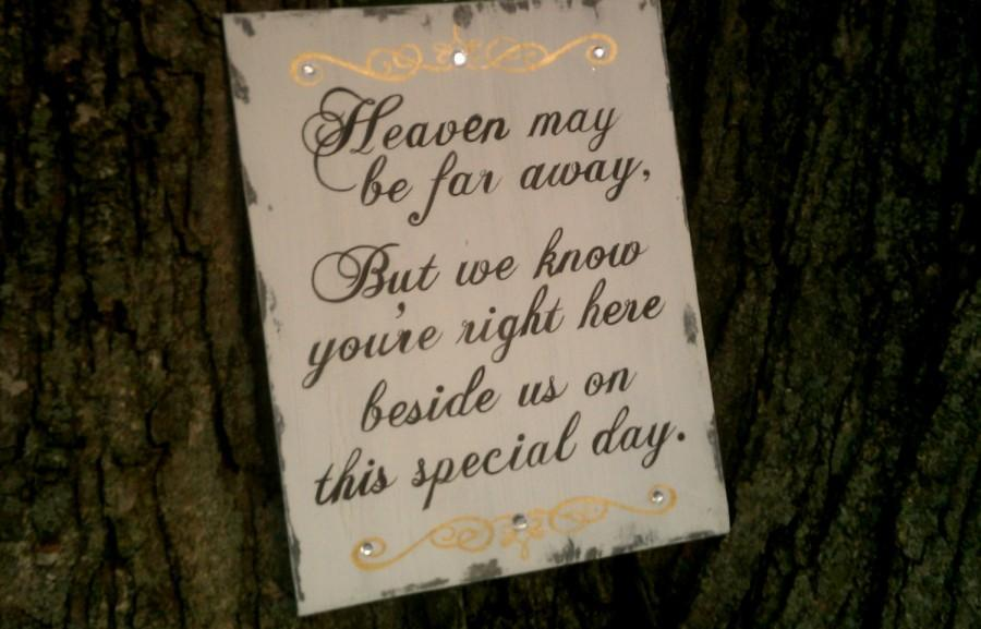 Mariage - Wedding Sign, Heaven, In Memory Sign, Remembrance, Gold Wedding Decor, Silver, Crystals