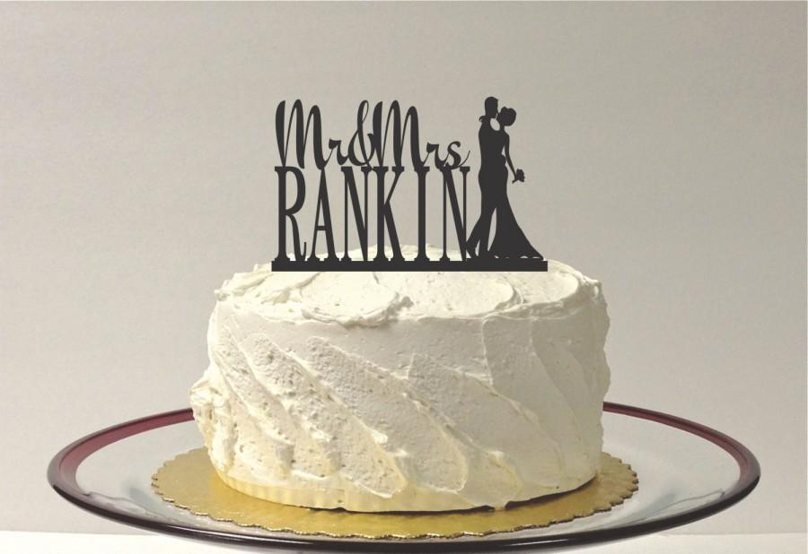 Свадьба - CUSTOM Wedding Cake Topper with Bride and Groom Silhouette Personalized Mr and Mrs Topper YOUR Last Name Custom Family Name Wedding Topper