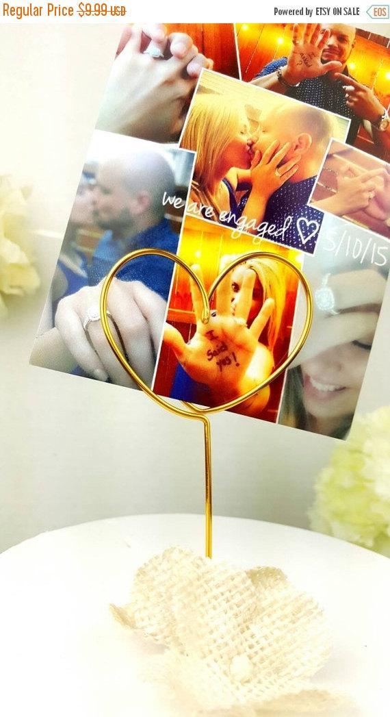 Mariage - Heart picture holder, wire photo holder, picture holder, wire heart topper, wire picture holder,  wedding cake topper,wiredtwist
