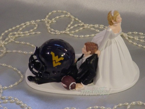 Mariage - West Virginia Mountaineer Univerity College Football Groom Sports Fan Wedding Cake topper-Mr loves Mrs his precious Anxious Bride-2