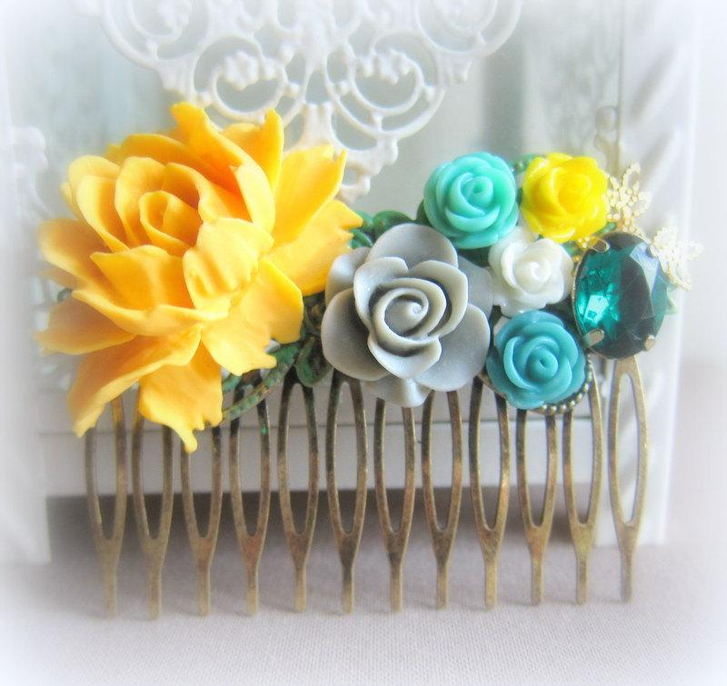 Mariage - Yellow Hair Comb Wedding Head Piece Floral Hair Comb Bridesmaid Gift Big Rose Canary Yellow Turquoise Emerald Fall Trend Autumn Colors