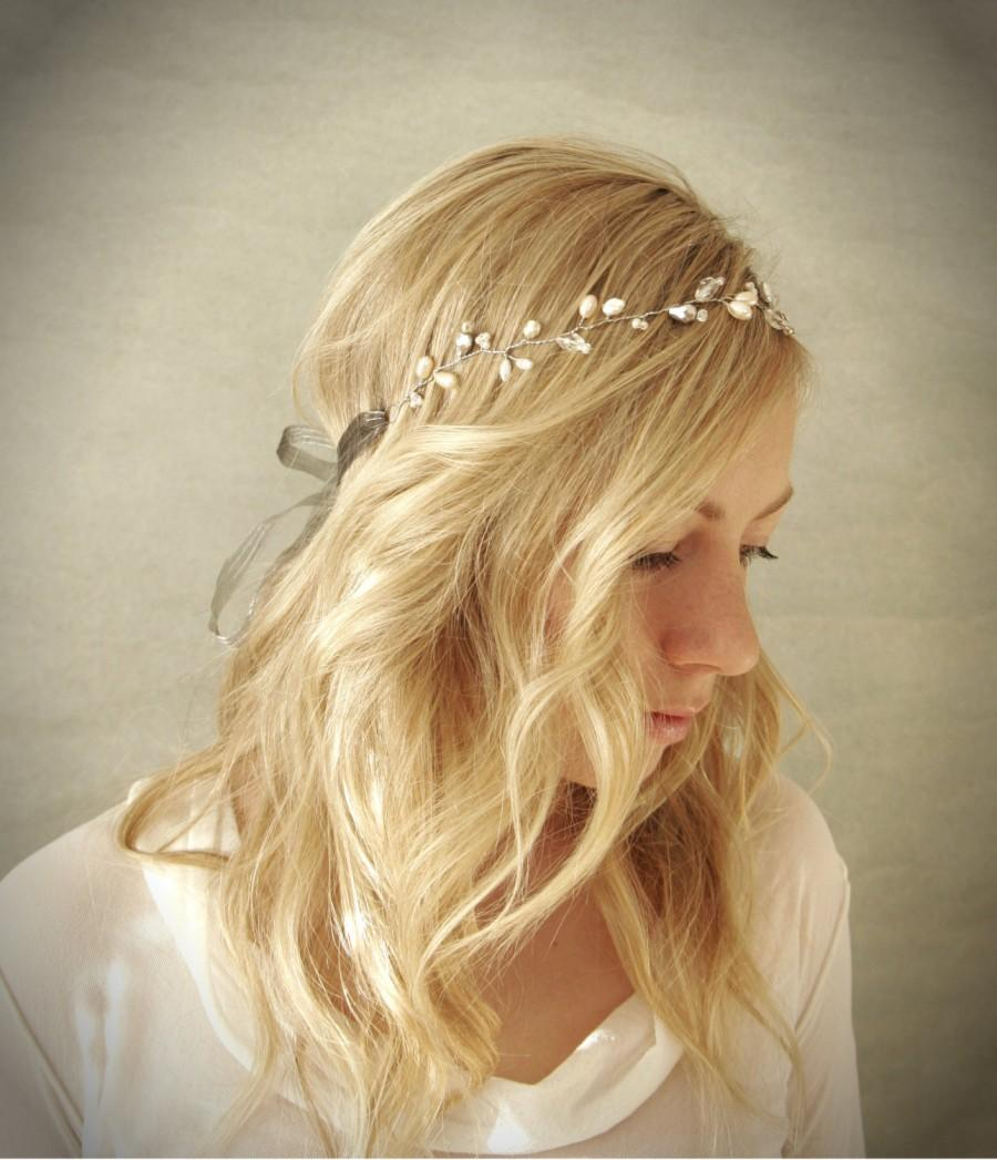 Mariage - Simple Pearl and Crystal Bridal Hair Vine Halo with Silver Accents. Wedding Hair Adornment. Bridal Hair Wreath. (Style: Sara)