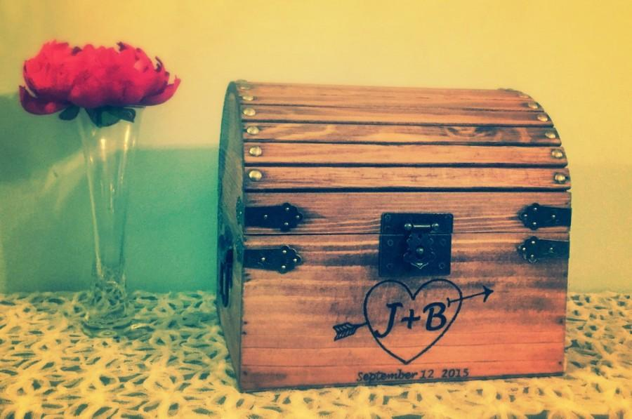 Lockable Treasure Chest Wedding Card Box Rustic Wedding Box