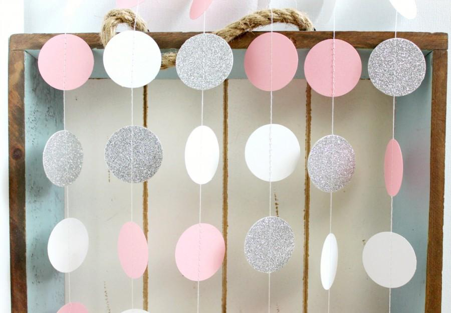 Silver Glitter White Pink 10 Ft Circle Paper Garland Wedding Birthday Bridal Shower Baby Party Decorations