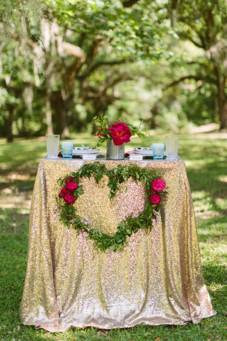 Warm Gold Sequin Tablecloth For Retro Wedding And Events! Custom Sparkle  Table Cloths, Tablecloths, Runners U0026 Overlays