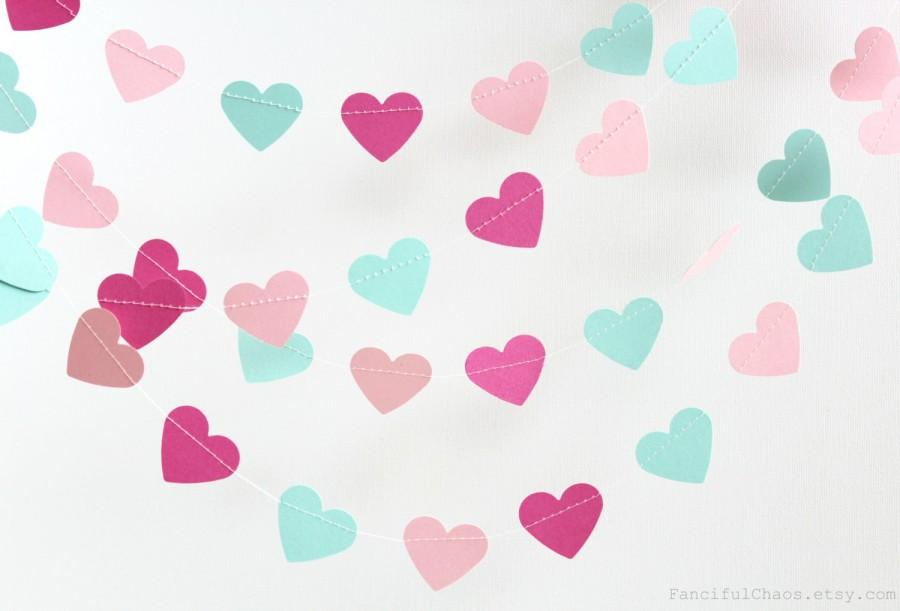 mint green pink dark fushia 10 ft heart paper garland. Black Bedroom Furniture Sets. Home Design Ideas
