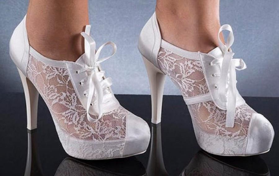 Wedding - Wedding shoes, Handmade FRENCH GUIPURE Lace and satin wedding shoe designed specially + GIFT Bridal Pantyhose  #8445