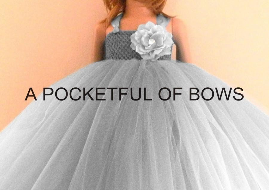 Nozze - Silver Flower Girl Tutu Dress, Black Formal Dress, Toddler Ball Gown