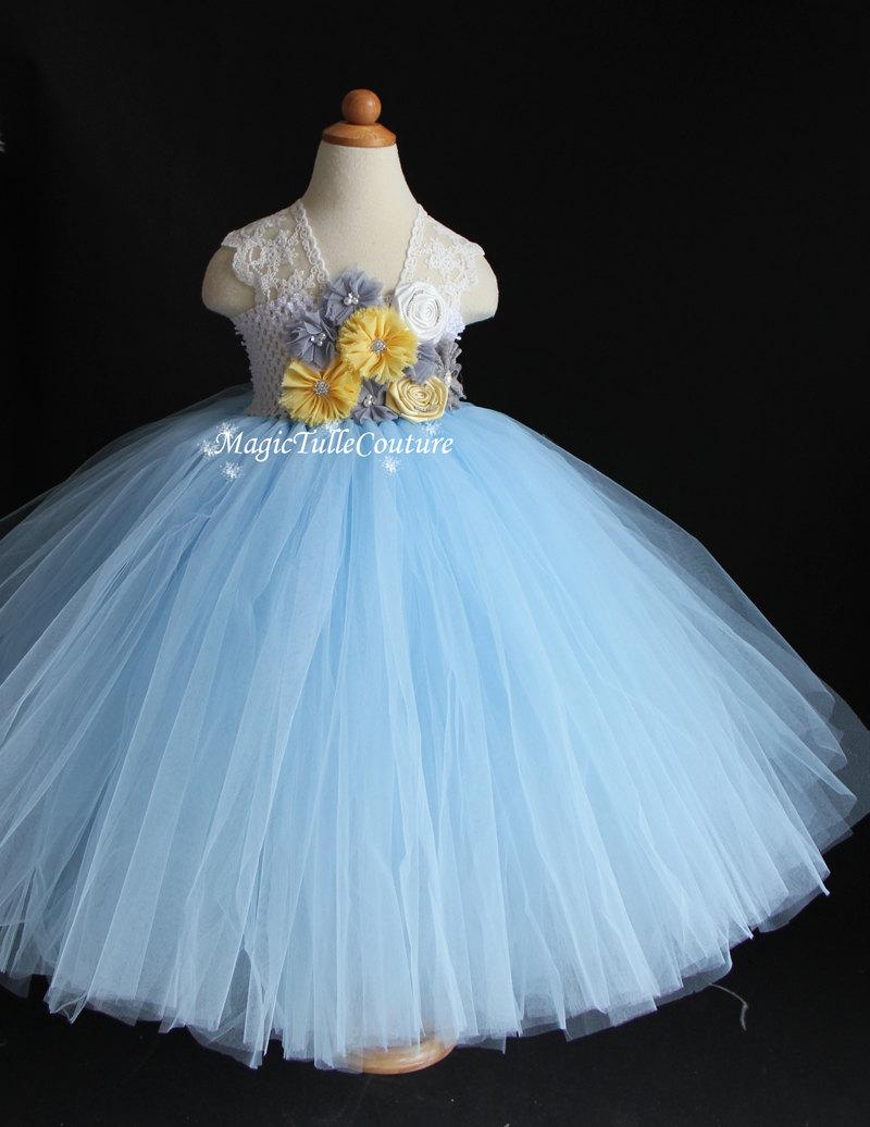 Light Blue And Yellow Grey Flower Girl Tutu Dress Birthday Parties