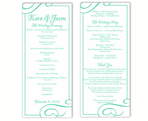 Wedding - Wedding Program Template DIY Editable Text Word File Download Program Aqua Wedding Program Blue Program Printable Wedding Program 4x9.25inch