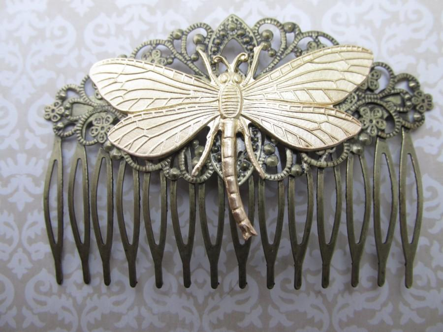 Свадьба - Dragonfly Hair Comb Woodland Wedding Vintage Hair combs Bridal Hair Accessories Decorative Combs Dragonfly Hair comb