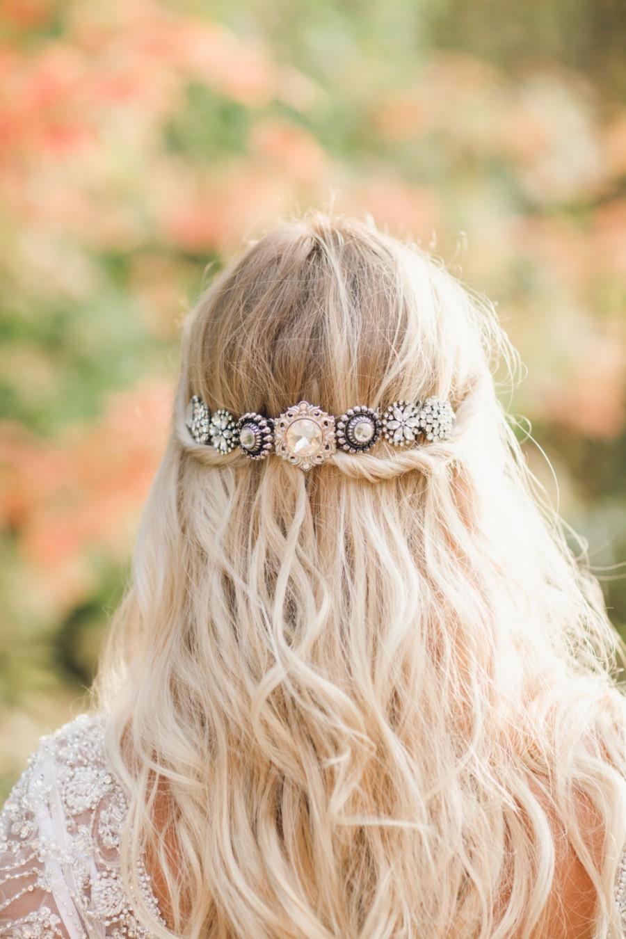 Свадьба - Bridal Headband, Vintage Brooch Convertible Headpiece tiara halo forehead sparkle silver beach wedding downton abbey bohemian bling veil 209
