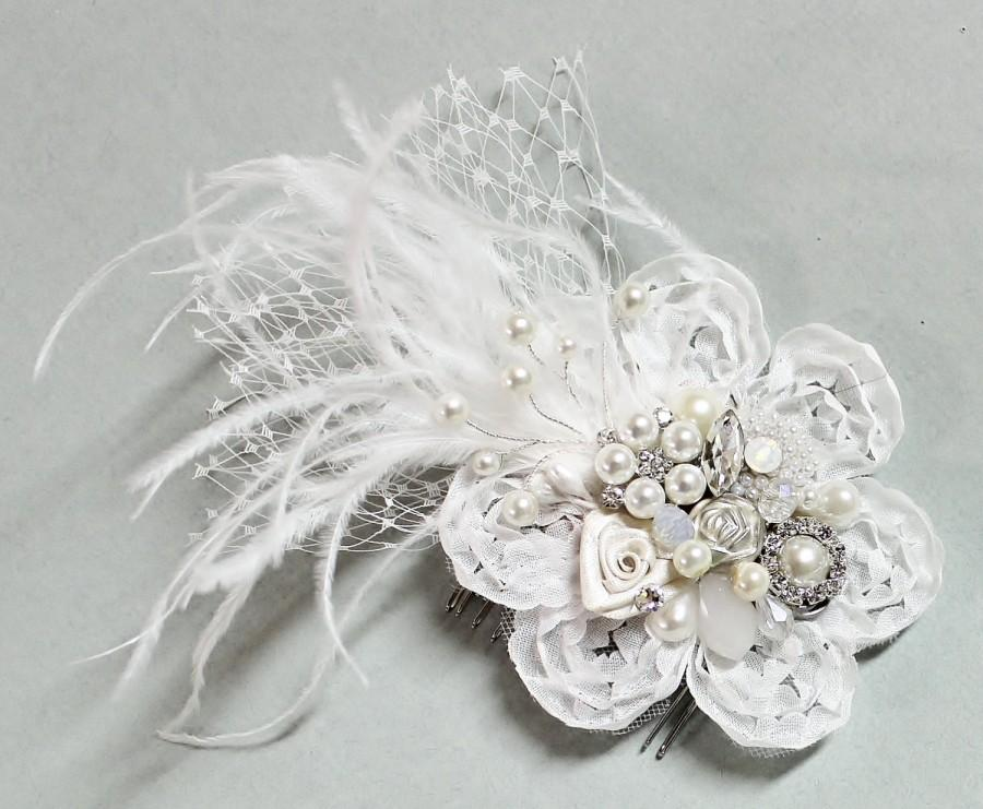 Свадьба - Soft White Bridal Hair Comb- Pearl Hair Comb-Wedding Hair Piece- Bridal Hair Accessories- White Clip or Comb- Bird Cage Veil-Floral Haircomb