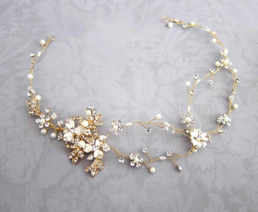 Свадьба - Gold Boho Hair Crown, Halo Hair Wrap, Silver Hair Wreath, Silver forehead band, Wedding Flower Hair Vine, Boho Wedding Headpiece - 'EVE'