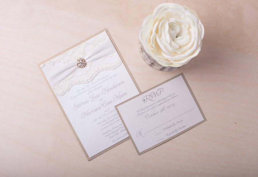 Wedding - JEMMA: Ivory Lace Wedding Invitation, Crystal White Wedding Invitation, Gold Wedding Invitation, Vintage Champagne Invite, Brooch