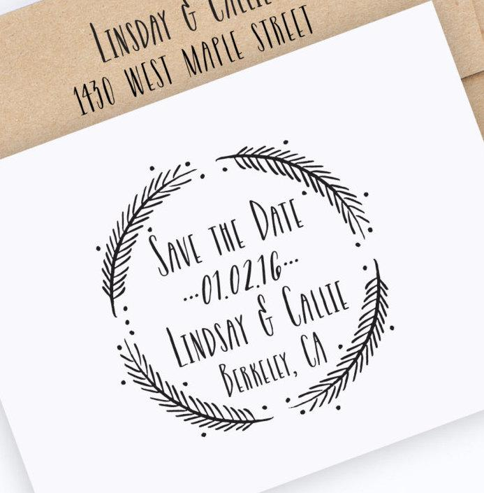 Save The Date Stamp Wedding With Wreath Dates Names And Custom Style No 49W