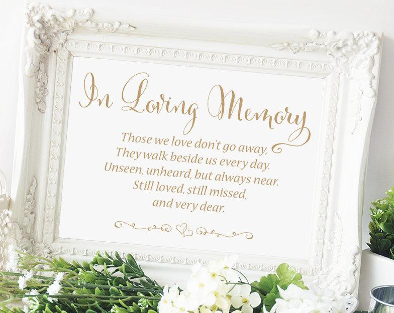 "in loving memory sign - 5 x 7 sign - diy printable sign in ""bella, Powerpoint templates"