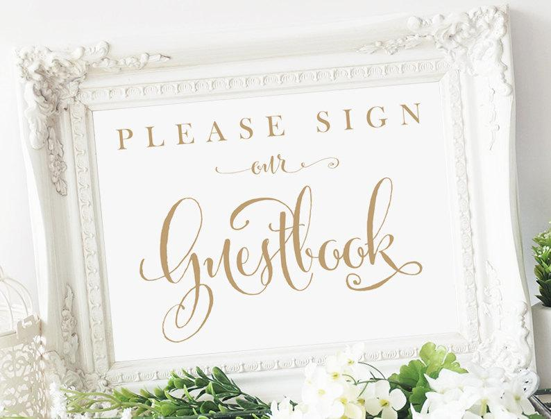 please sign our guestbook sign 5x7 sign diy printable sign in