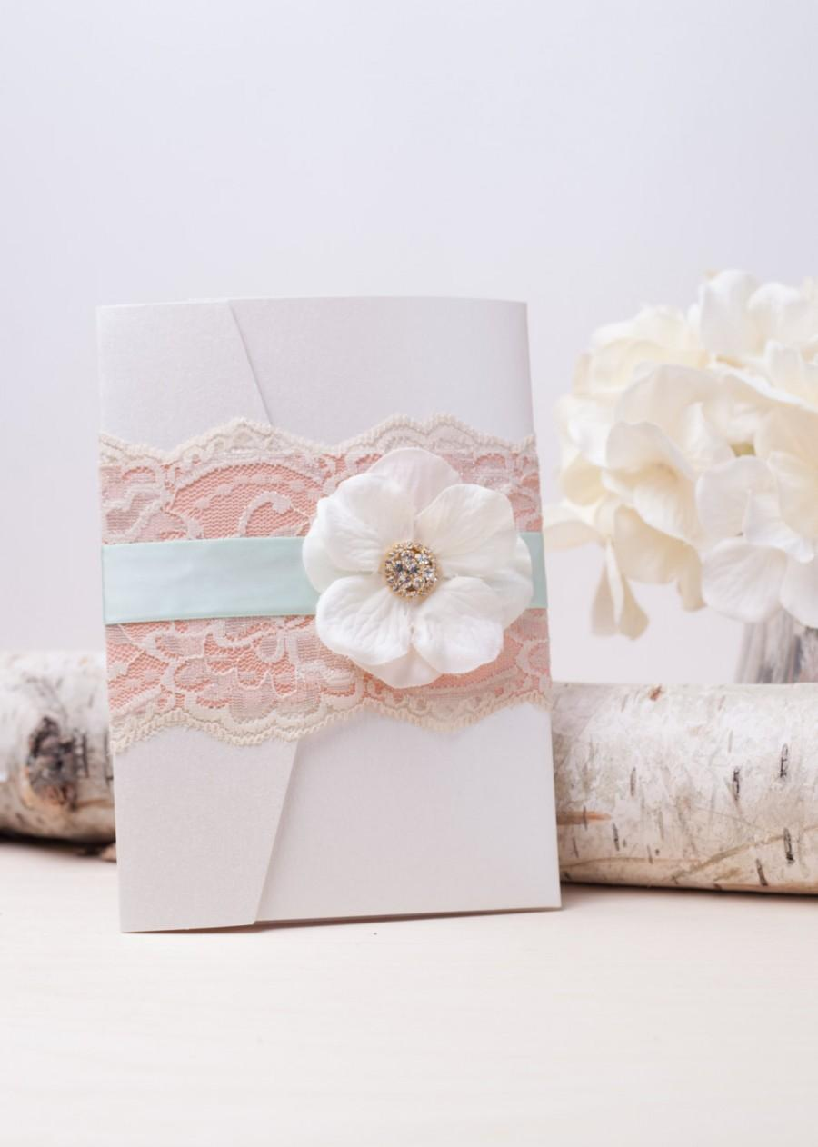 SHABBY CHIC: Mint And Peach Vintage Lace Pocketfold Wedding ...