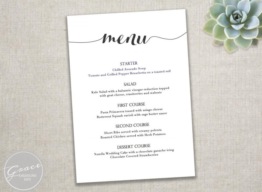 Printable black menu template calligraphy style script for Wedding menu cards templates for free