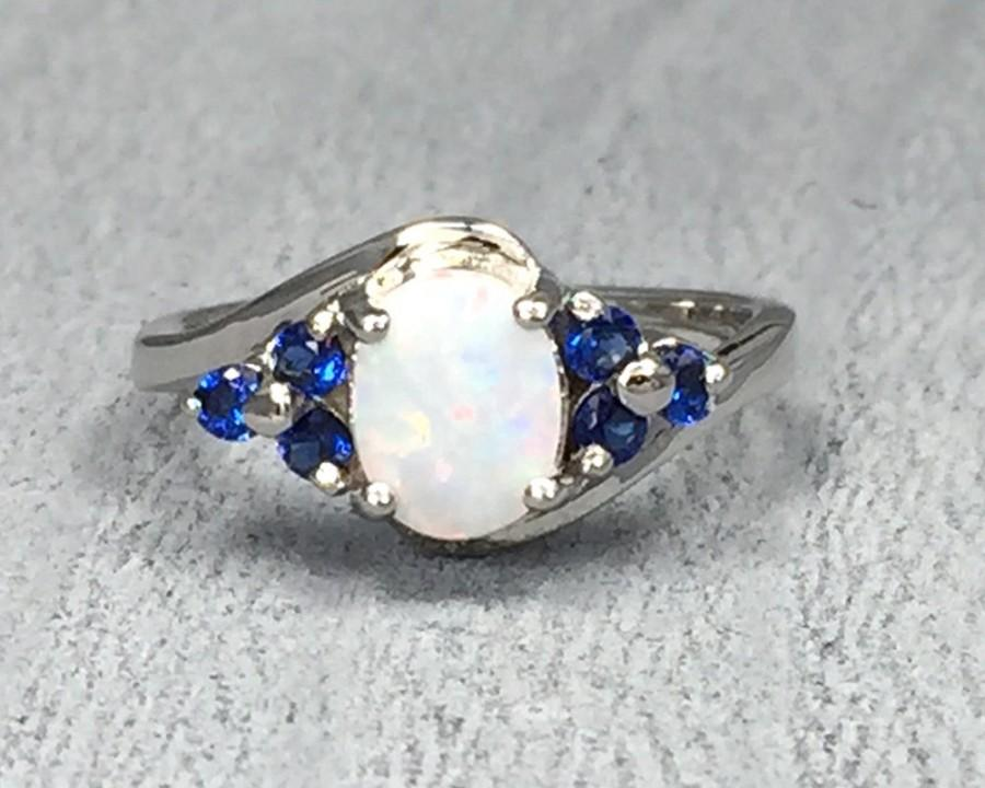 exquisite opal natural sapphire birthstone bride ring engagement best princess silver size wedding gemstones under product sterling strange