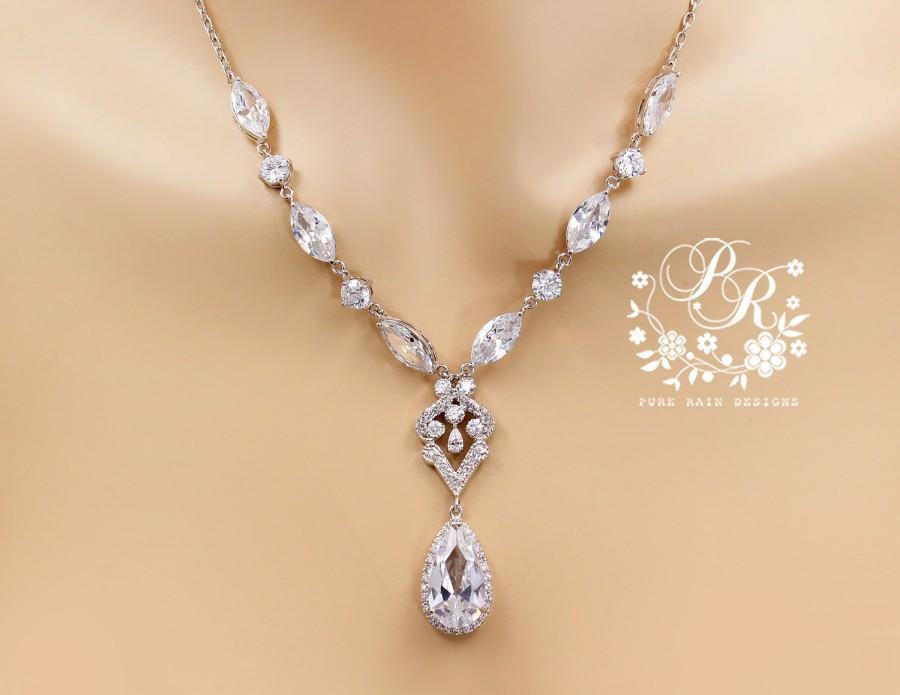 Wedding Necklace Teardrop Zirconia Platinum Plated Jewelry Accessories Bridal Bridesmaid Mix