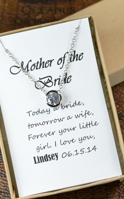 Wedding - Mother of the Groom &bride,Solitaire Necklace, Cubic Zirconia Necklace,CZ Diamond Necklace ,Mother In Law Gift,Small Circle Pendant Necklace